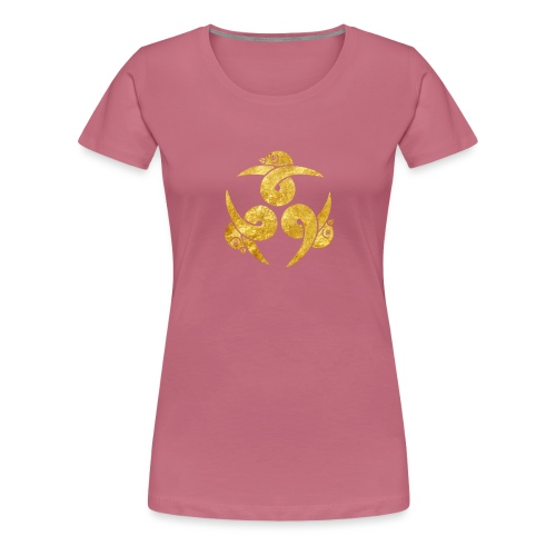 Three Geese Japanese Kamon in gold - Women's Premium T-Shirt