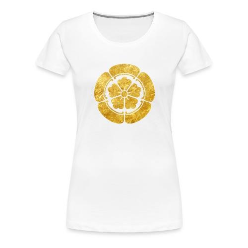 Oda Mon Japanese samurai clan faux gold on black - Women's Premium T-Shirt