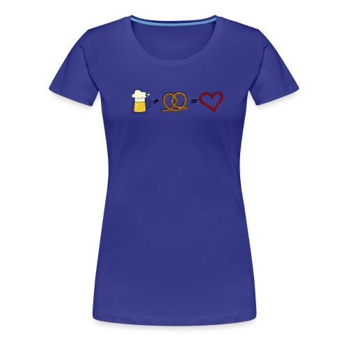 pretzel + beer = love - Women's Premium T-Shirt