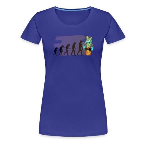 Evolution der coolen Ananas mit Kopfhoere und scho - Frauen Premium T-Shirt