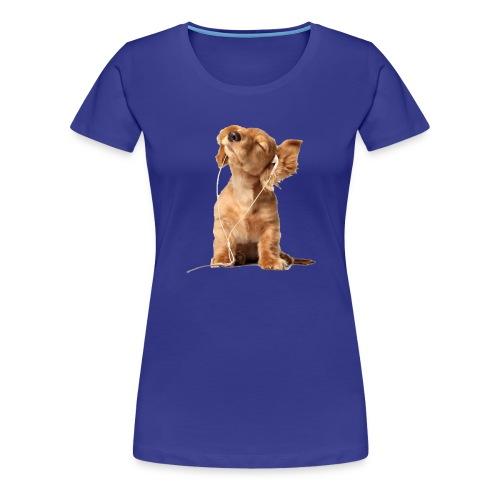 Cool Dog Listening to Music - Women's Premium T-Shirt