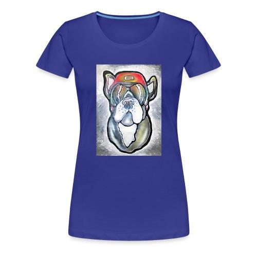 Bulldogge - Hund mit Helm und Sonnenbrille - Frauen Premium T-Shirt