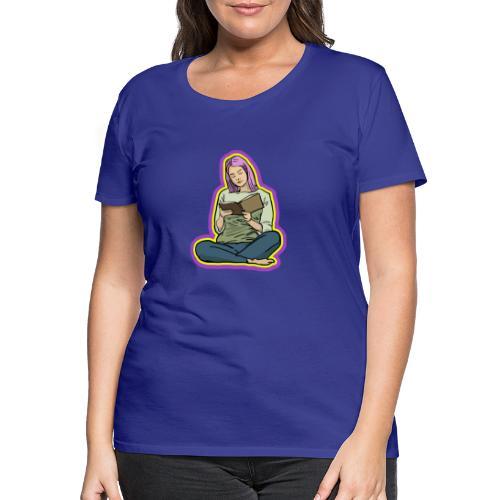 Girl Reading - Premium-T-shirt dam