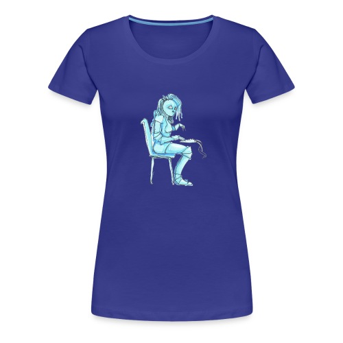 blue robot trimmed2 - Women's Premium T-Shirt