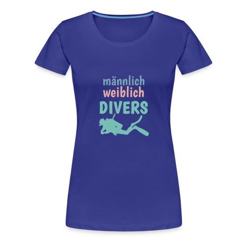 m/w/d: männlich weiblich DIVERS! Shirt für Taucher - Frauen Premium T-Shirt