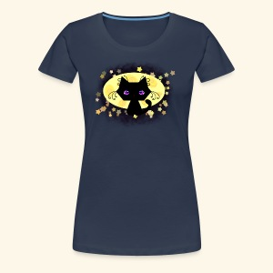 The Kitten and the Moon (black) - Frauen Premium T-Shirt