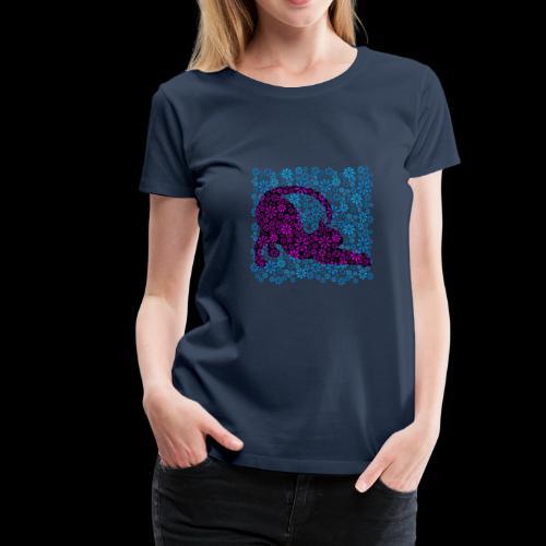 Flower Power Feline - Blue ( petcontest ) - Women's Premium T-Shirt