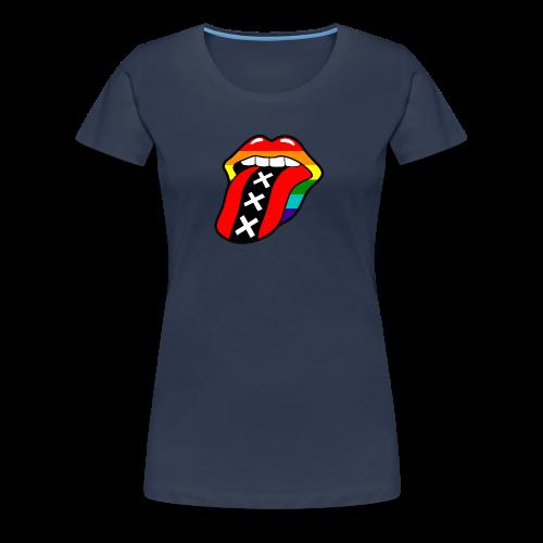 Gay pride rainbow mond met tong en Amsterdam logo - Vrouwen Premium T-shirt