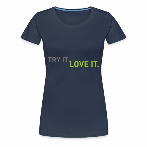 tryfeellove gross - Frauen Premium T-Shirt