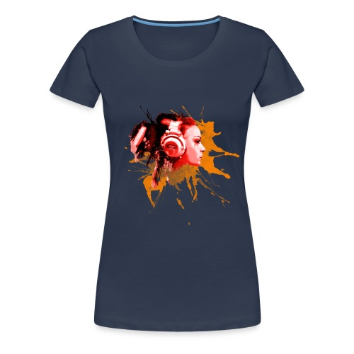 GIRL MIT KOPFHÖRER - Frauen Premium T-Shirt
