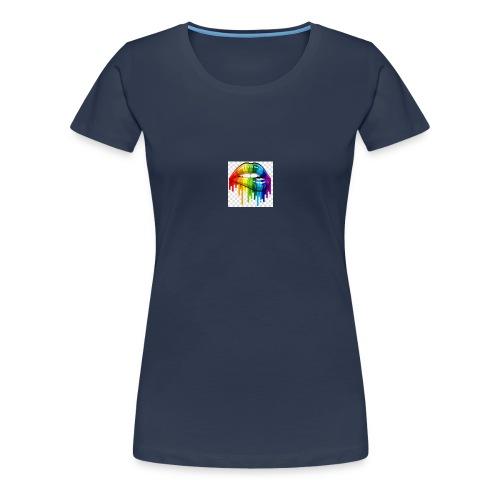 gay pride lgbt pride parade rainbow flag lip bite - Women's Premium T-Shirt