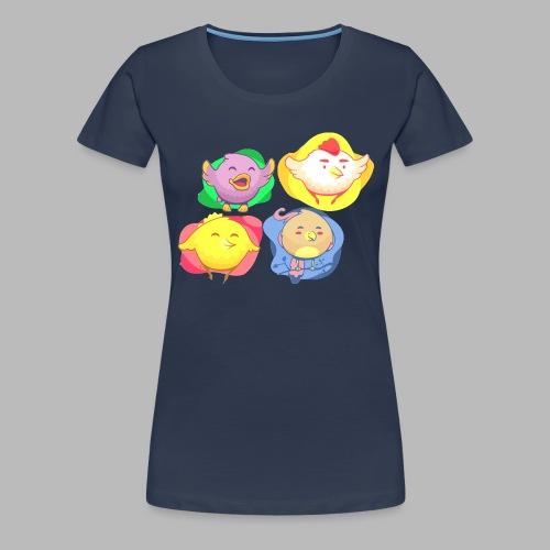 cute birds, lindas aves divertidoa - Camiseta premium mujer