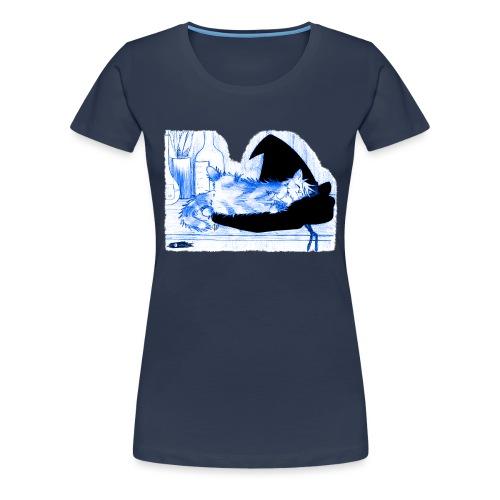 Tyrrin Hexenkater auf Hut (blau) - Frauen Premium T-Shirt