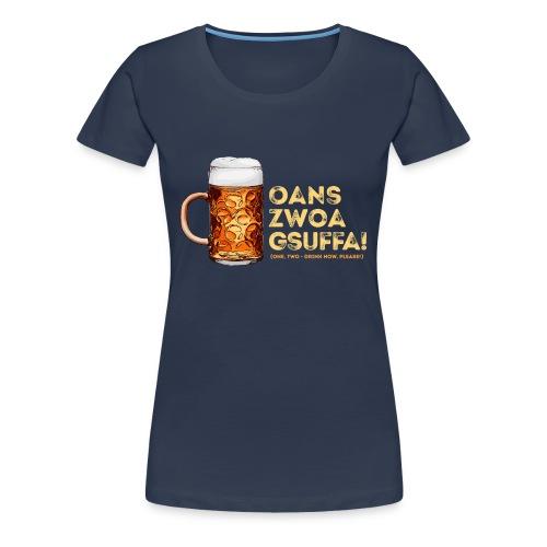 "Masskrug Trinkspruch ""Fans, zwoa, gsuffa! - Frauen Premium T-Shirt"
