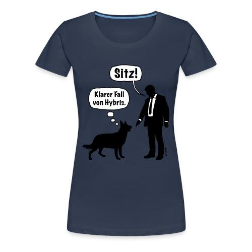 Cartoon, Hund & Herrchen: Sitz! Hybris. (2C) - Frauen Premium T-Shirt