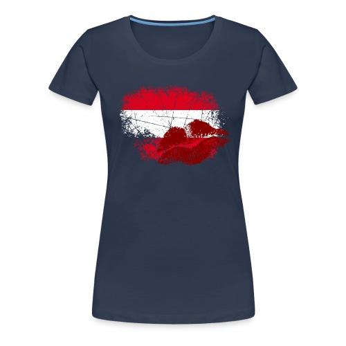 Fahne Österreich Kussmund/Lippen - Fanshirt - Frauen Premium T-Shirt