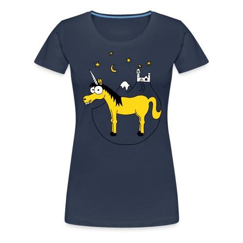 Einhorn mit Burg, Unicorn, Märchen, Pferd, Sterne - Frauen Premium T-Shirt