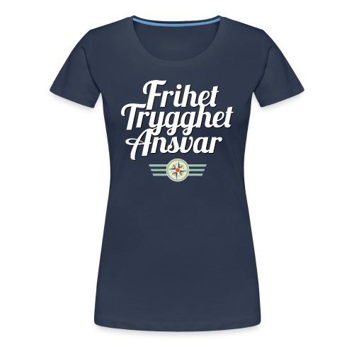 Frihet Trygghet Ansvar m/logo. På marine - Premium T-skjorte for kvinner
