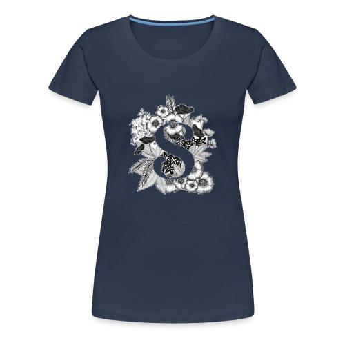 Black flowers s - Vrouwen Premium T-shirt