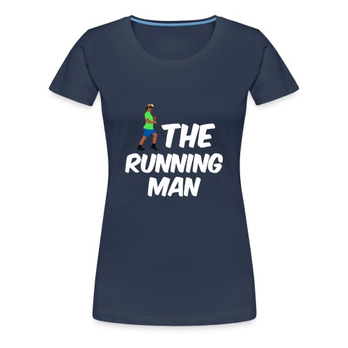 The Running Man Light Blue Shirt White Font - Women's Premium T-Shirt