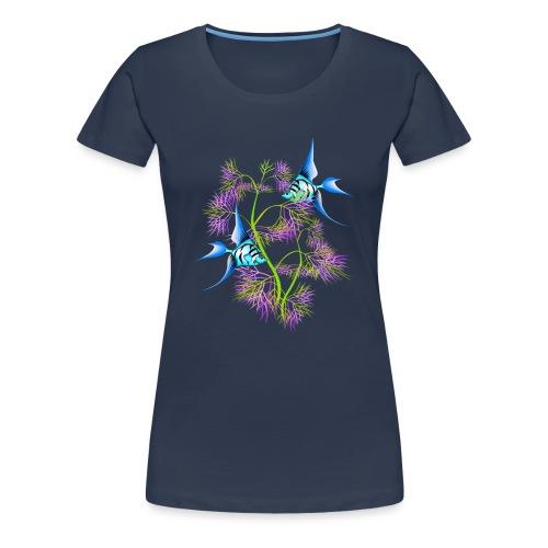 Tropical blue Fish Swimming around plants - Women's Premium T-Shirt