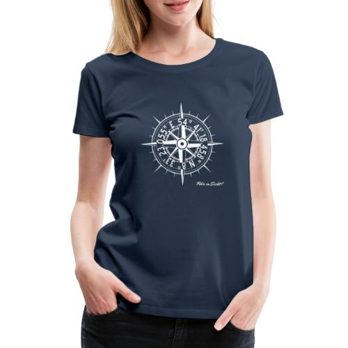 Föhr Kompass Koordinaten Nordsee Insel Wyk weiss - Frauen Premium T-Shirt