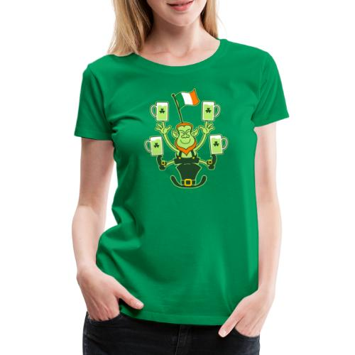 Leprechaun Juggling Beers and Irish Flag - Women's Premium T-Shirt
