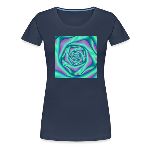 Silk Spiral Rose in Blue and Pink - Women's Premium T-Shirt