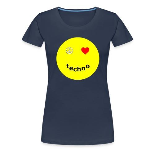 camiseta paz amor techno - Camiseta premium mujer