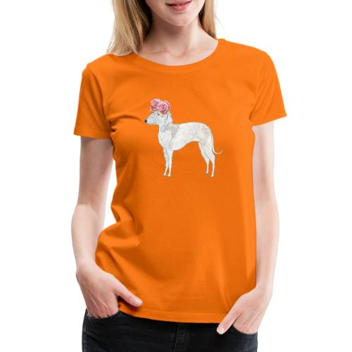 bedlington terrier with roses - Dame premium T-shirt