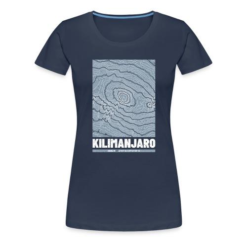 Kilimandscharo | Landkarte Topografie Grunge - Frauen Premium T-Shirt