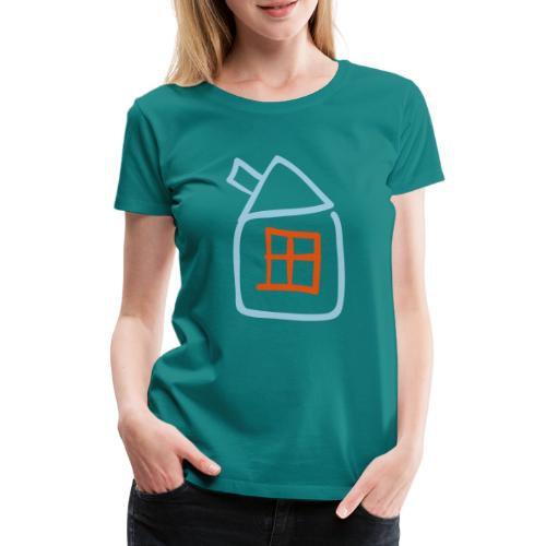 House Outline Pixellamb - Frauen Premium T-Shirt