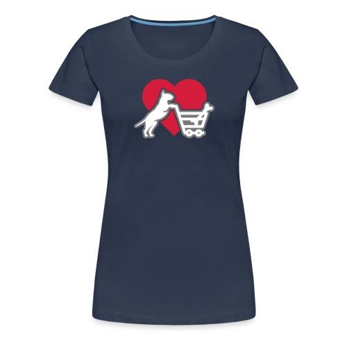 Shopping Bullterrier LOVE 3c - Frauen Premium T-Shirt