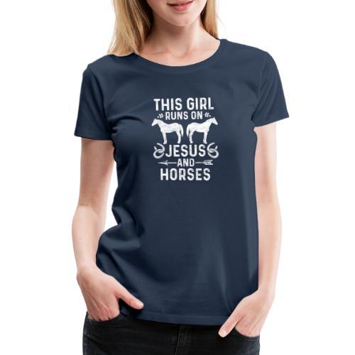 Pferde und Jesus lieben Christliches Tshirt - Frauen Premium T-Shirt