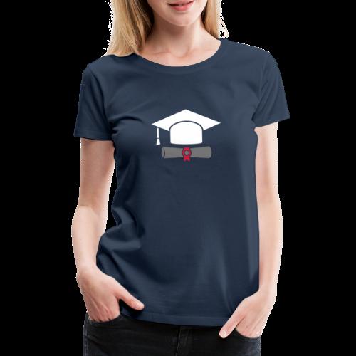 Doktorhut mit Zeugnis - Geschenk zum Abschluss - Frauen Premium T-Shirt