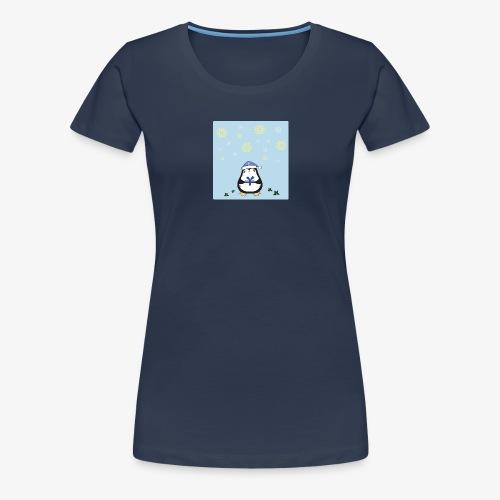 pingouin de Noel sur fond bleu - T-shirt Premium Femme