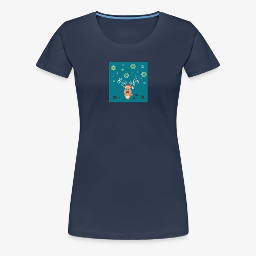 little deer blue background - Women's Premium T-Shirt