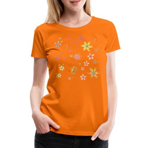 flowers and butterflies - Maglietta Premium da donna