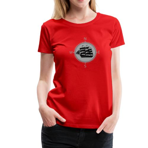 Schiff weiss Kompass Nord Süd - Frauen Premium T-Shirt