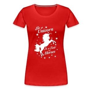 Unicorn in a field of Horses - Women's Premium T-Shirt