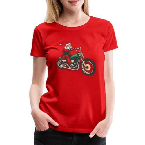 Cool Winter Christmas Santa Motor Biker - Women's Premium T-Shirt
