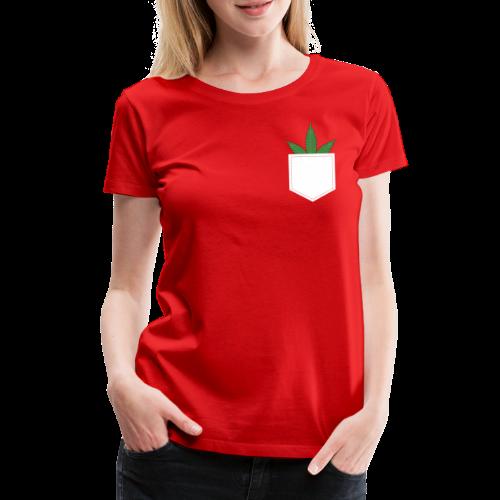Brusttasche mit Marihuana / Cannabisblatt - Frauen Premium T-Shirt