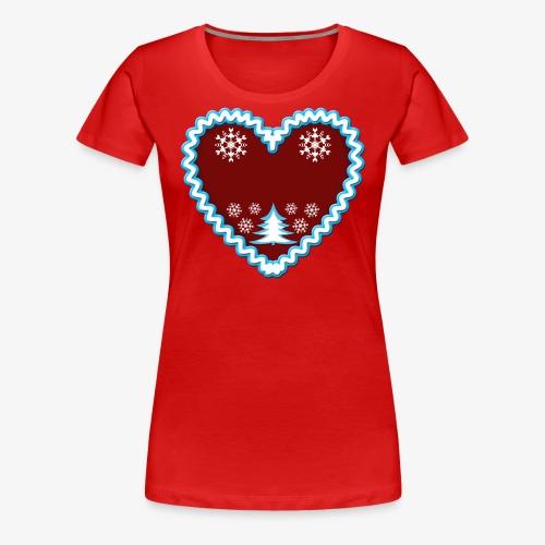 Lebkuchenherz Dein Text Frohe Weihnachten 01 - Frauen Premium T-Shirt