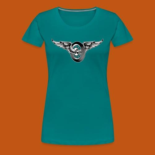 Motorrad / Moped Rad / Angel Wheel 01_schwarz weiß - Frauen Premium T-Shirt