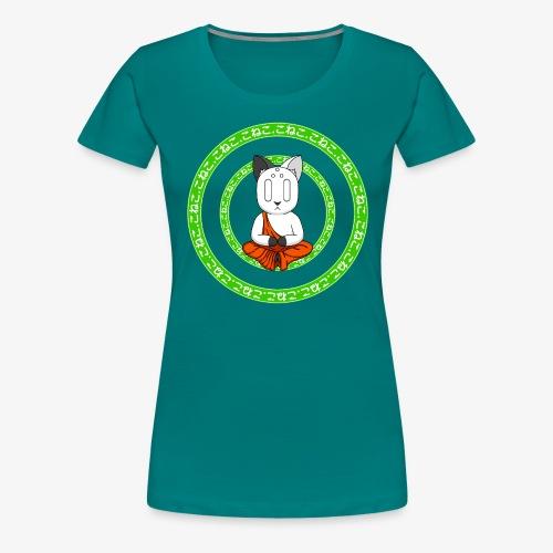Buddh-cat green - T-shirt Premium Femme