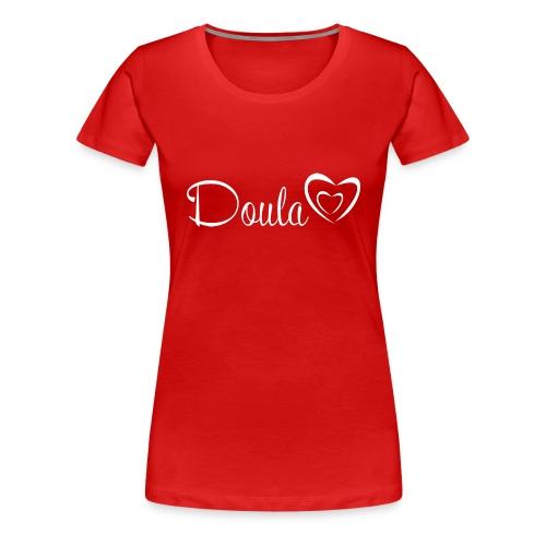 doula sydämet valkoinen - Naisten premium t-paita