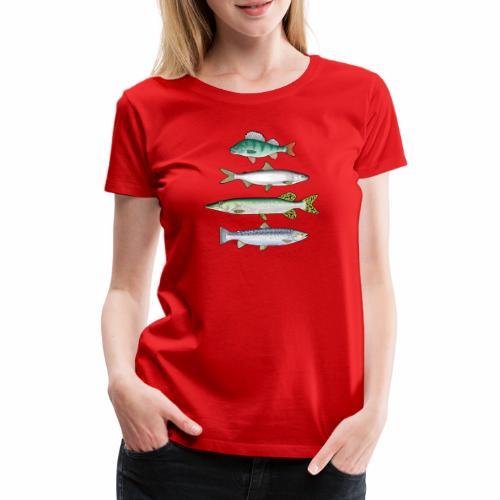 FOUR FISH - Ahven, siika, hauki ja taimen products - Naisten premium t-paita