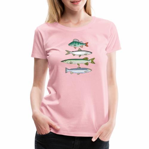 FOUR FISH - Ahven, siika, hauki ja taimen tuotteet - Naisten premium t-paita