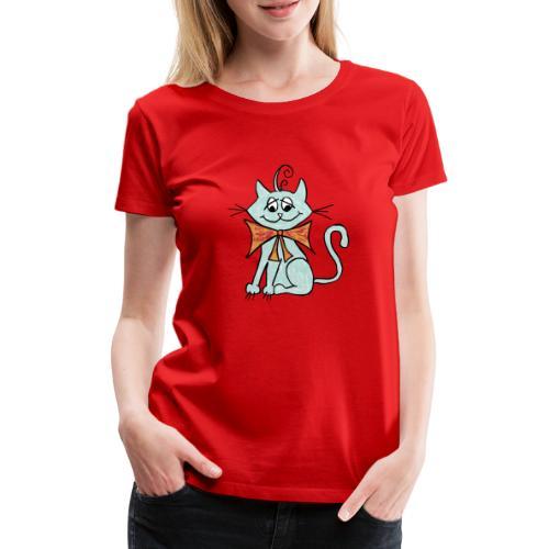 NIedliche blaue Katze - Frauen Premium T-Shirt