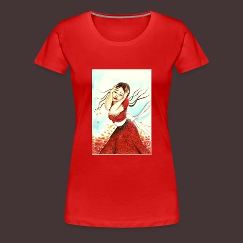 jeune femme saisie par l'émotion, cheveux au vent - T-shirt Premium Femme